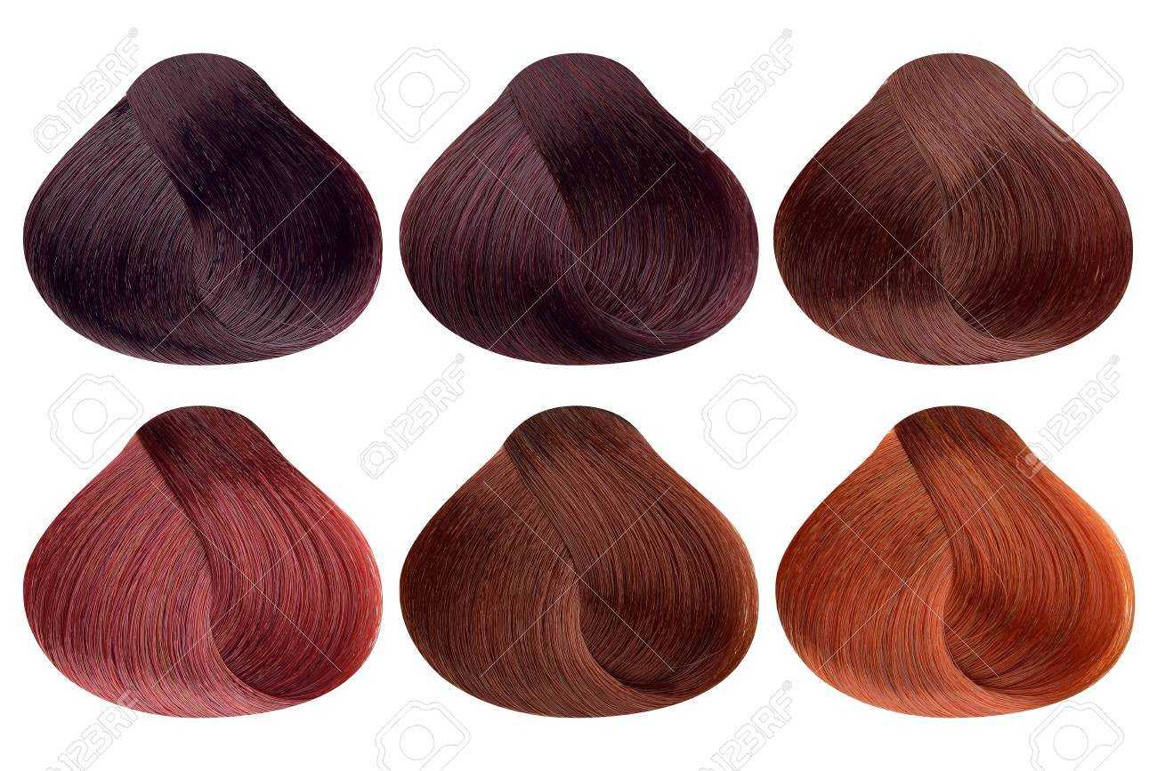 Set Of Locks Of Six Different Red Hair Color Samples Burgund