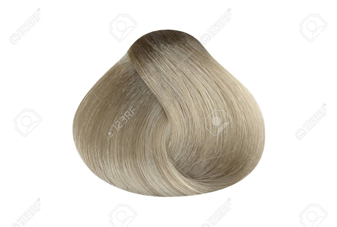 Lock Of Light Ash Blonde Hair Color Sample, Rounded Shape, Isolated On  White Background