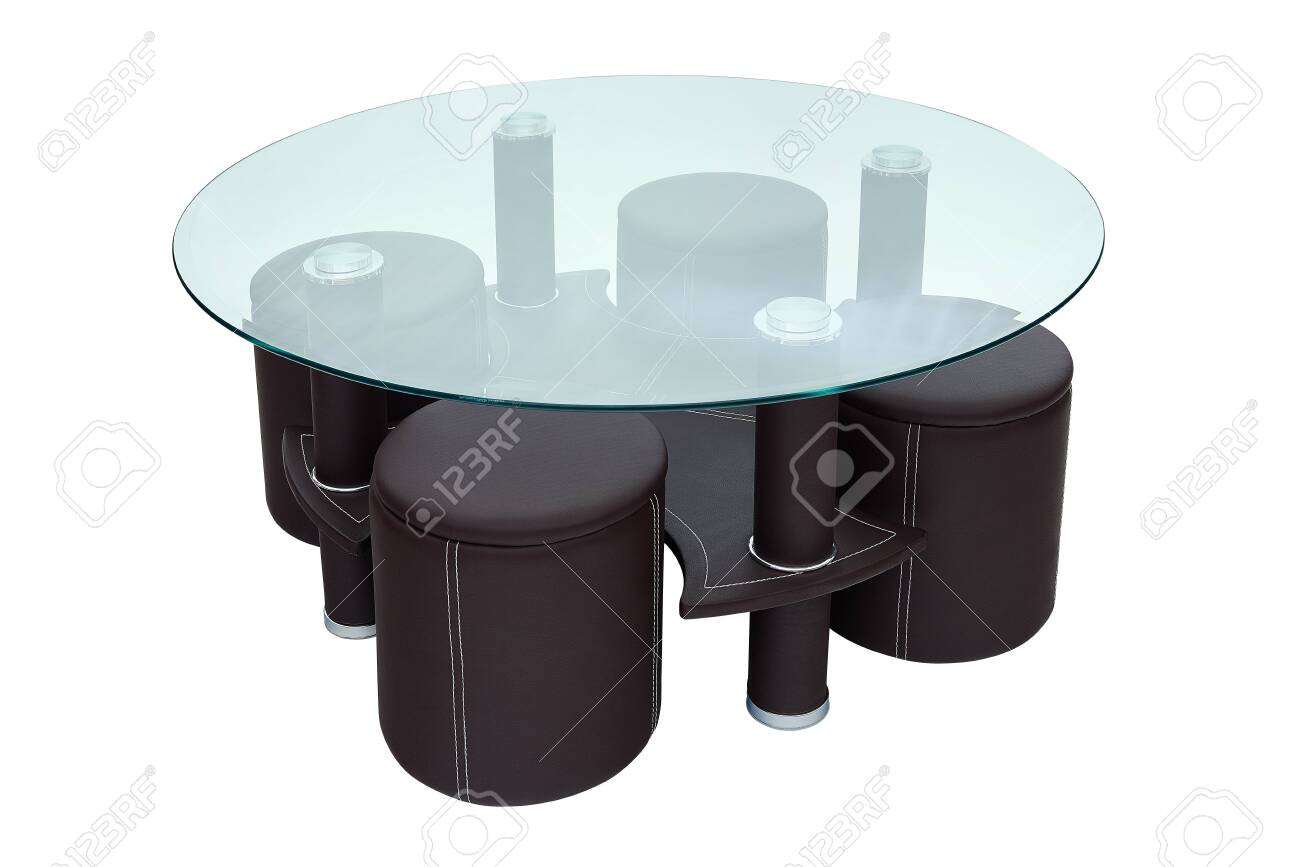 Luxury Coffee Table And Stools Round Glass And Dark Brown Leather Stock Photo Picture And Royalty Free Image Image 119380174