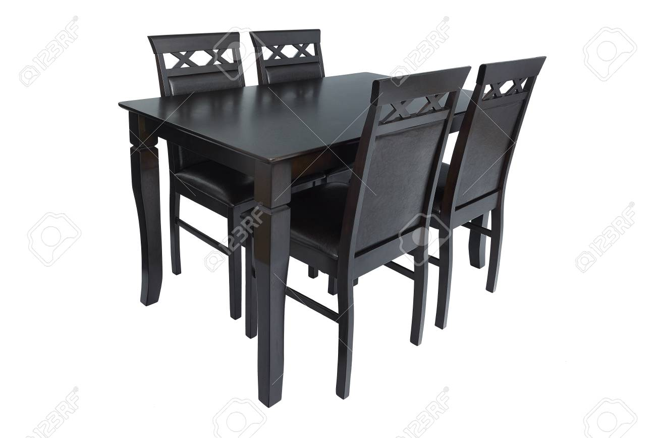 Dining room furniture set of table and four chairs. Elegant dining..