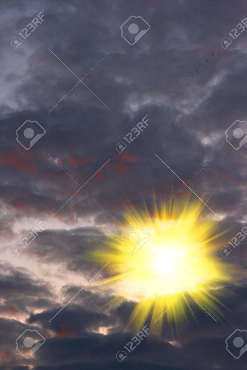 the bright sun broke through the black clouds Stock Photo - 5814677