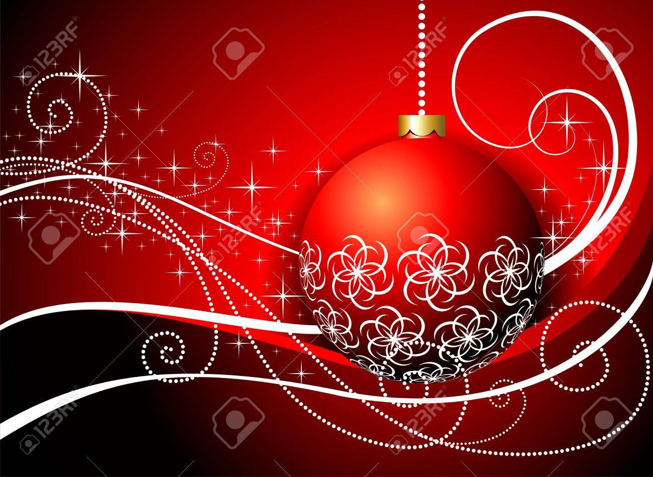 Red glass ball ornaments - Vector Christmas Card With Red Glass Ball And Ornament Motive