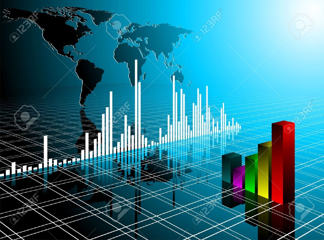 business illustration with world map  on blue background. Stock Photo - 7292307