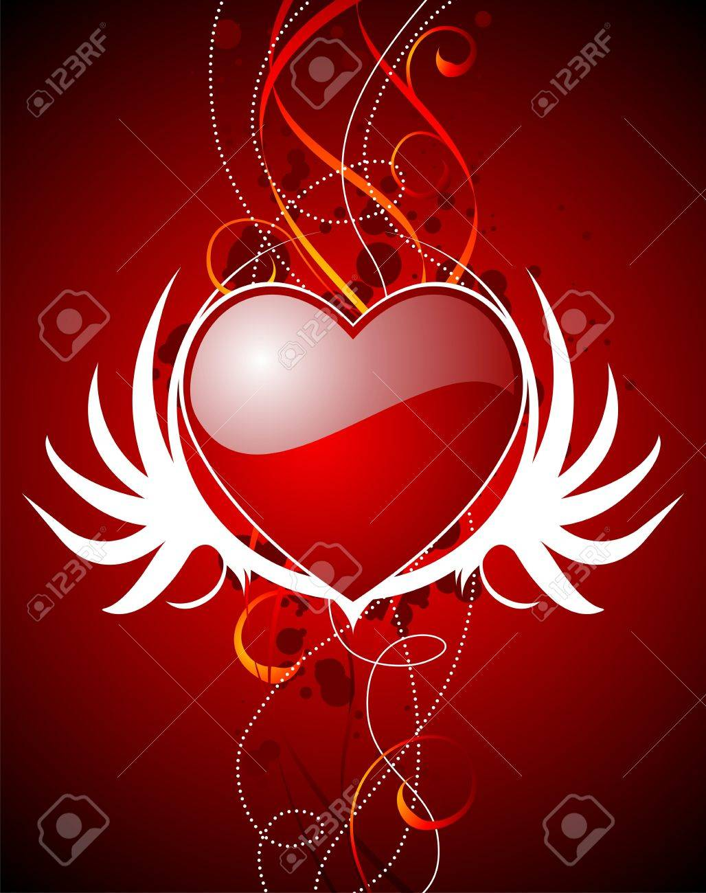 Valentine's day illustration with glossy red hearts and wings. Stock Vector - 7316269