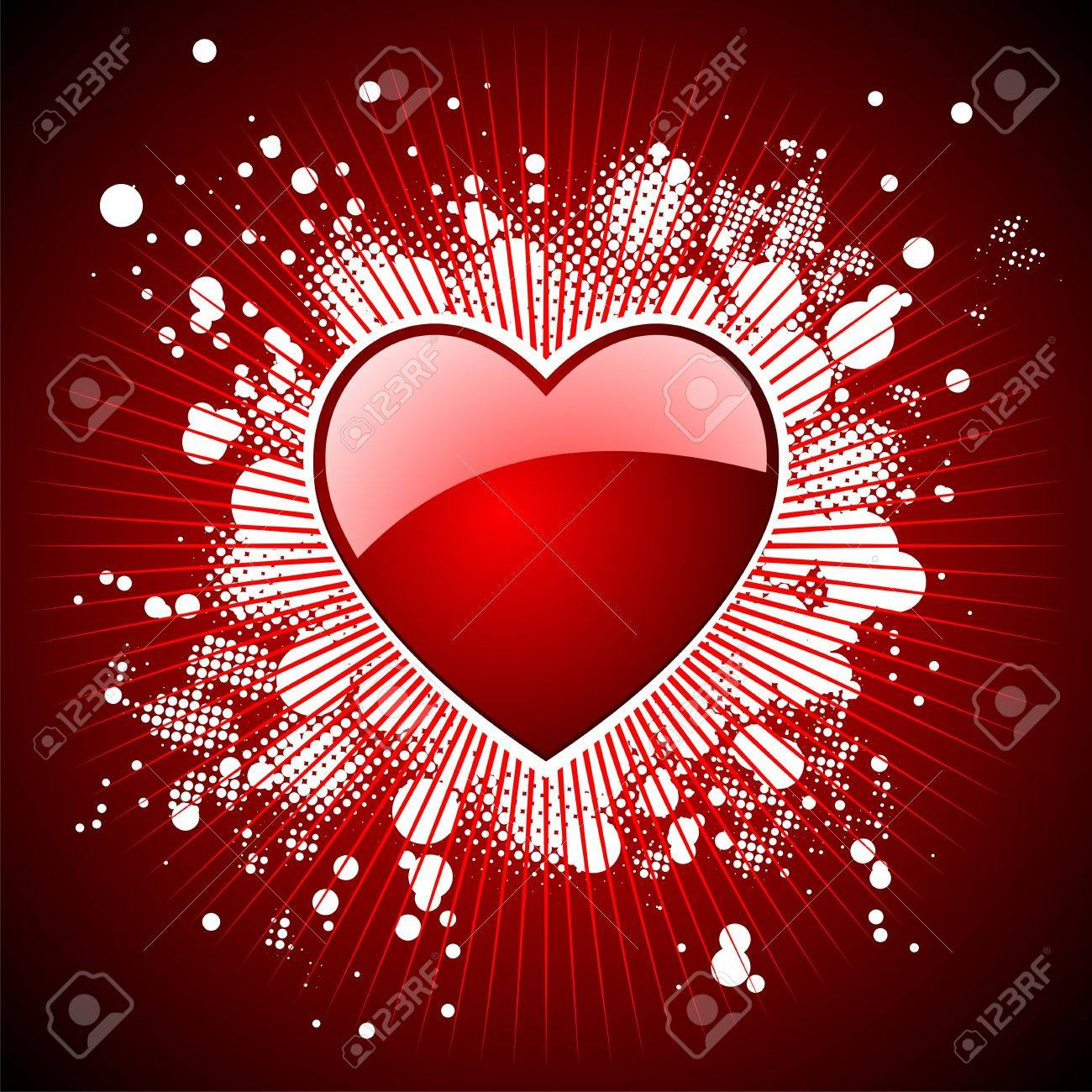 Valentine's day illustration with glossy red hearts. Stock Vector - 7316283