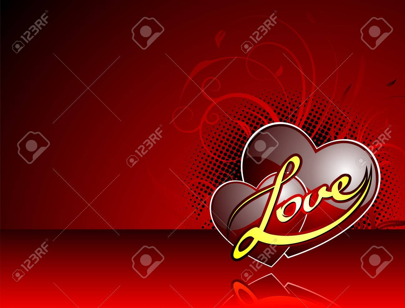 Valentine's day illustration with glossy red heart and Love title. Stock Vector - 7316274