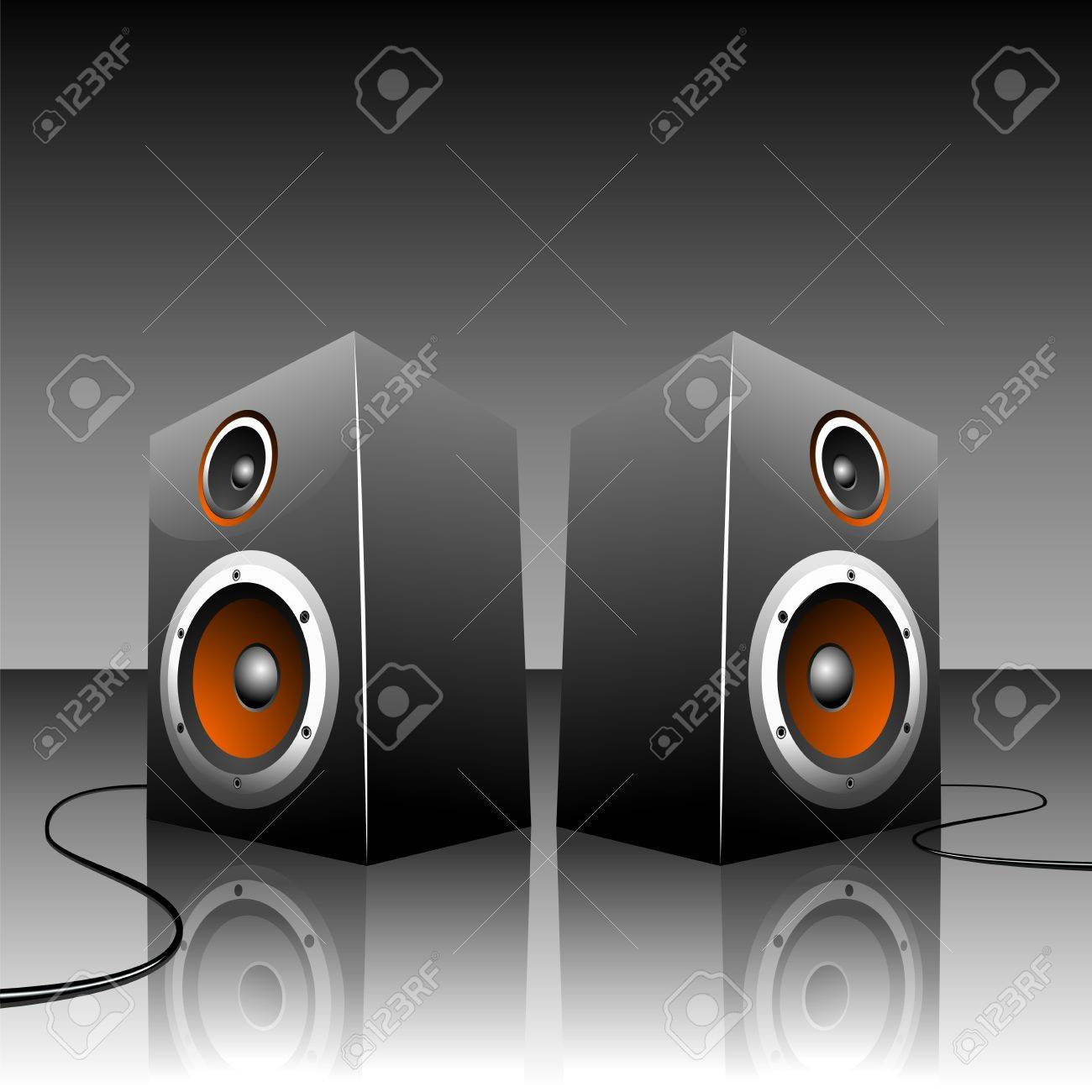 illustration for musical theme with loudspeakers. Stock Vector - 7385547