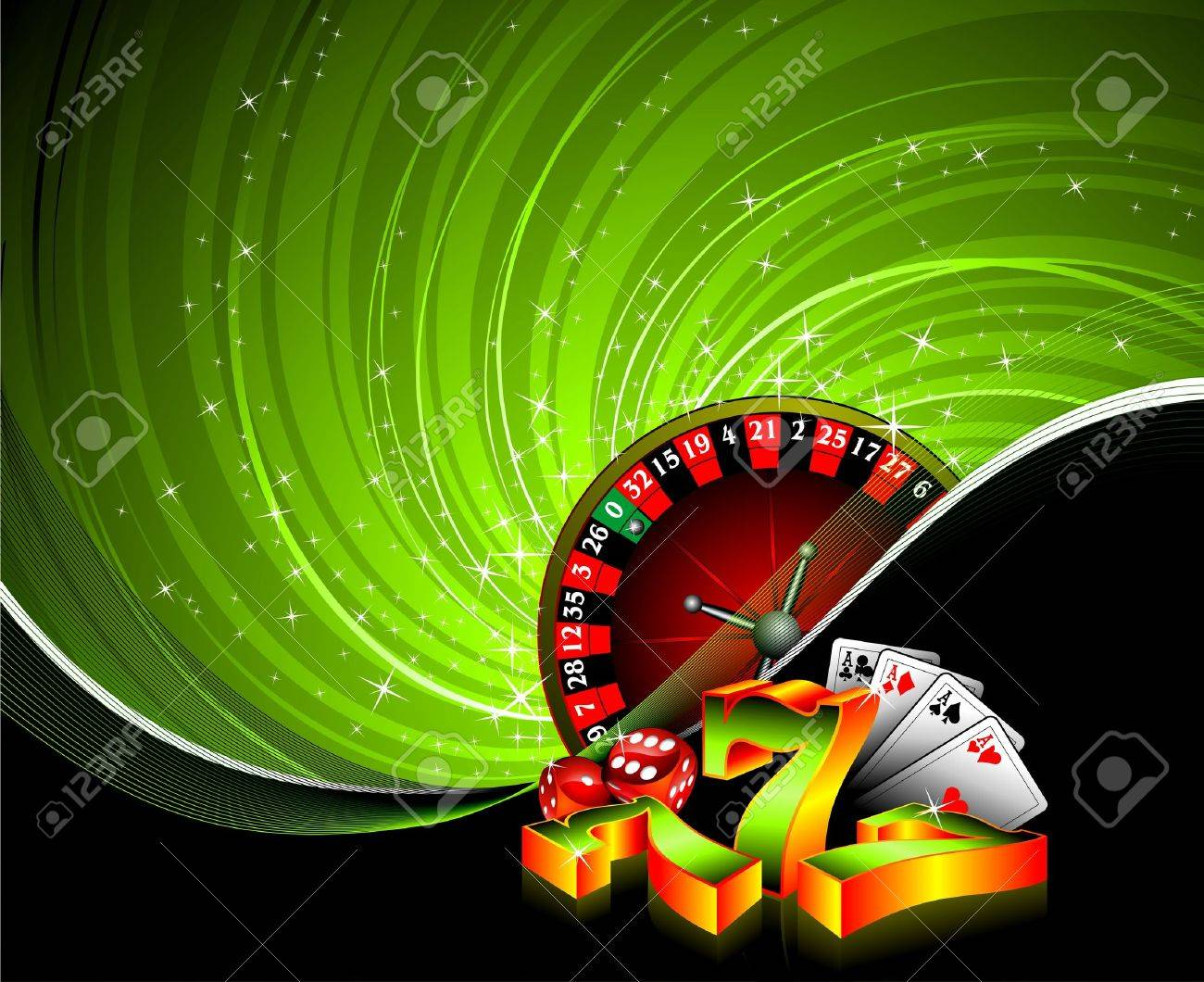 gambling illustration with casino elements on grunge background. Stock Vector - 7418963