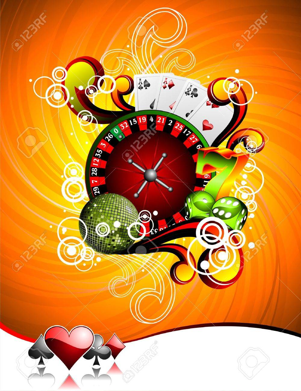 illustration on a casino theme with roulette wheel, playing cards and dices. Stock Vector - 7418969