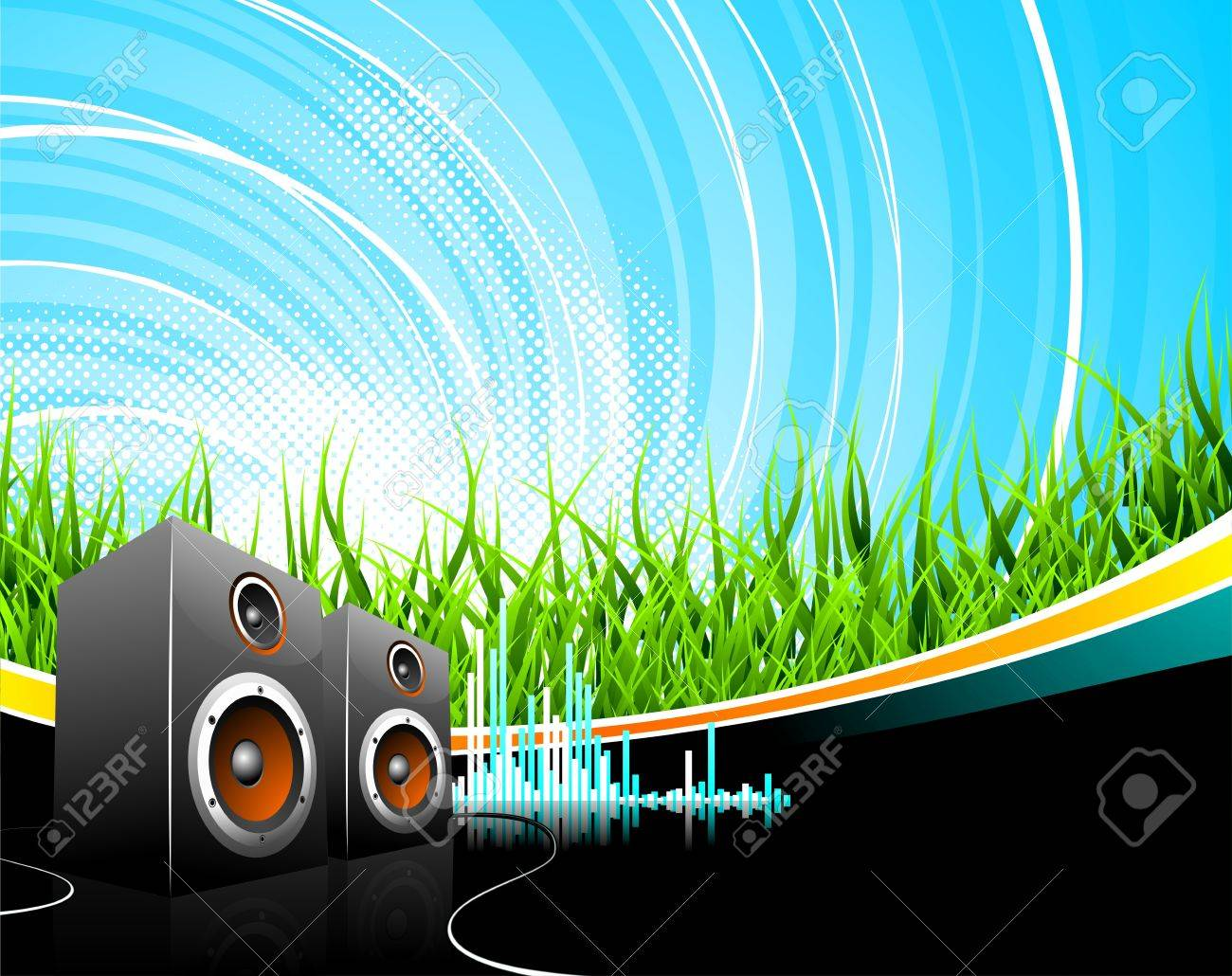 Music illustration with speakers on a field background. Stock Vector - 7473466
