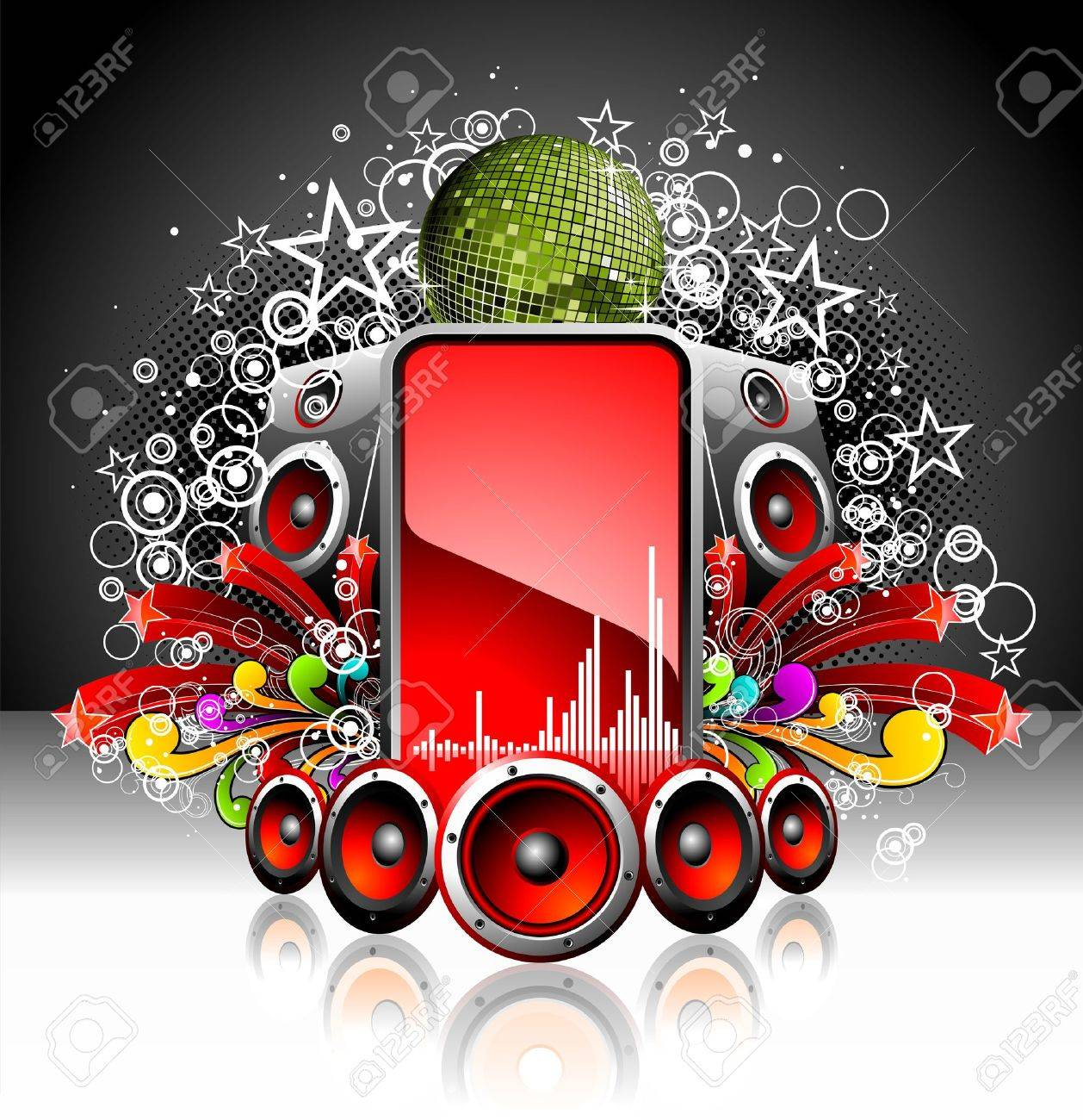 illustration for a musical theme with speakers and disco ball Stock Vector - 7473468