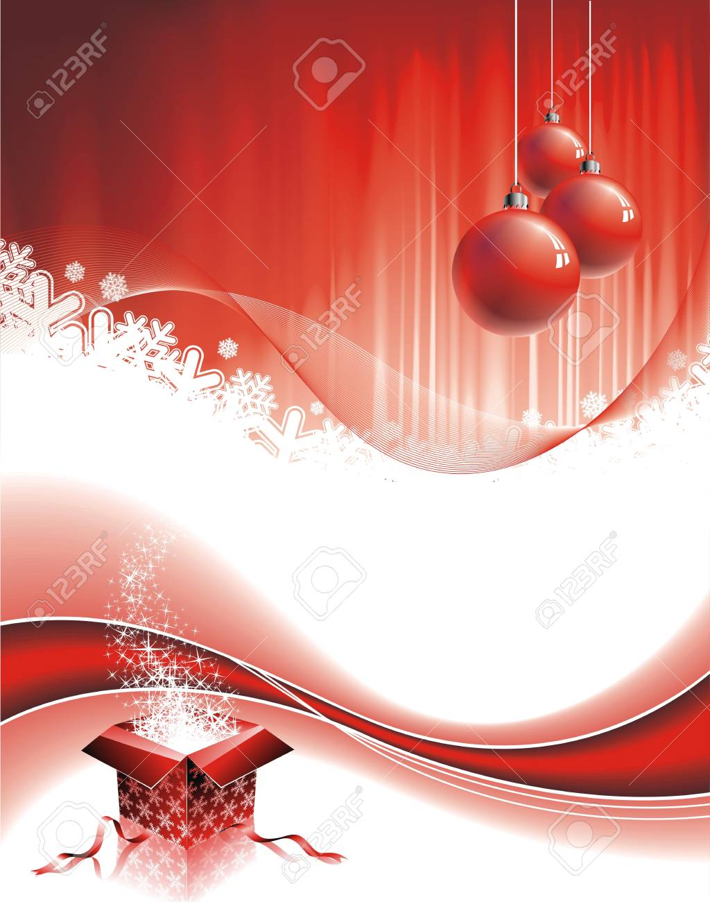 Christmas illustration with gift box on red background Stock Vector - 7896736