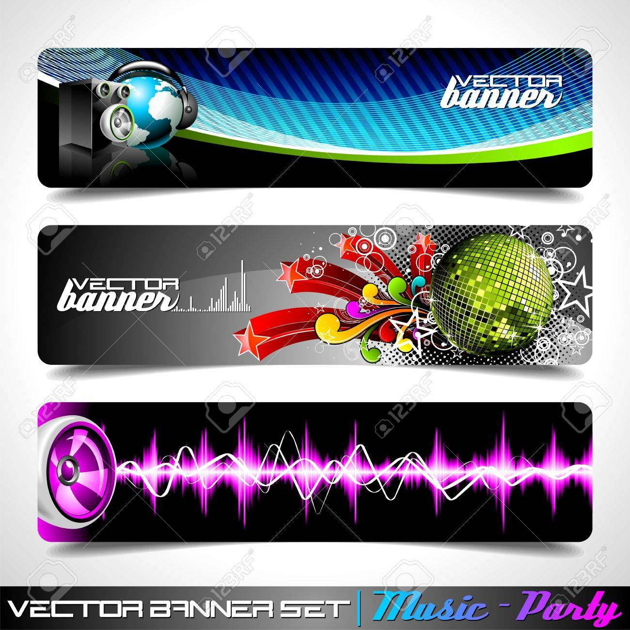 Vector banner set on a Music and Party theme. Stock Vector - 10263757