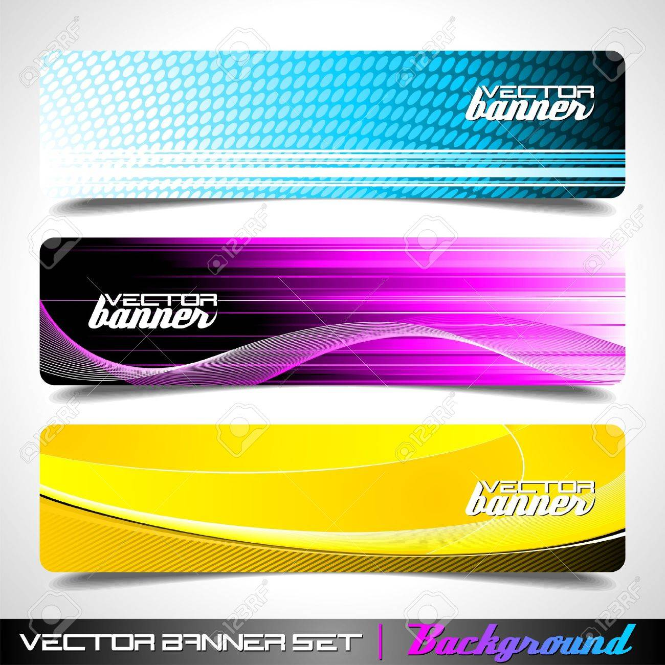 Design vector banner - Three Abstract Vector Banner Background Stock Vector 10263649