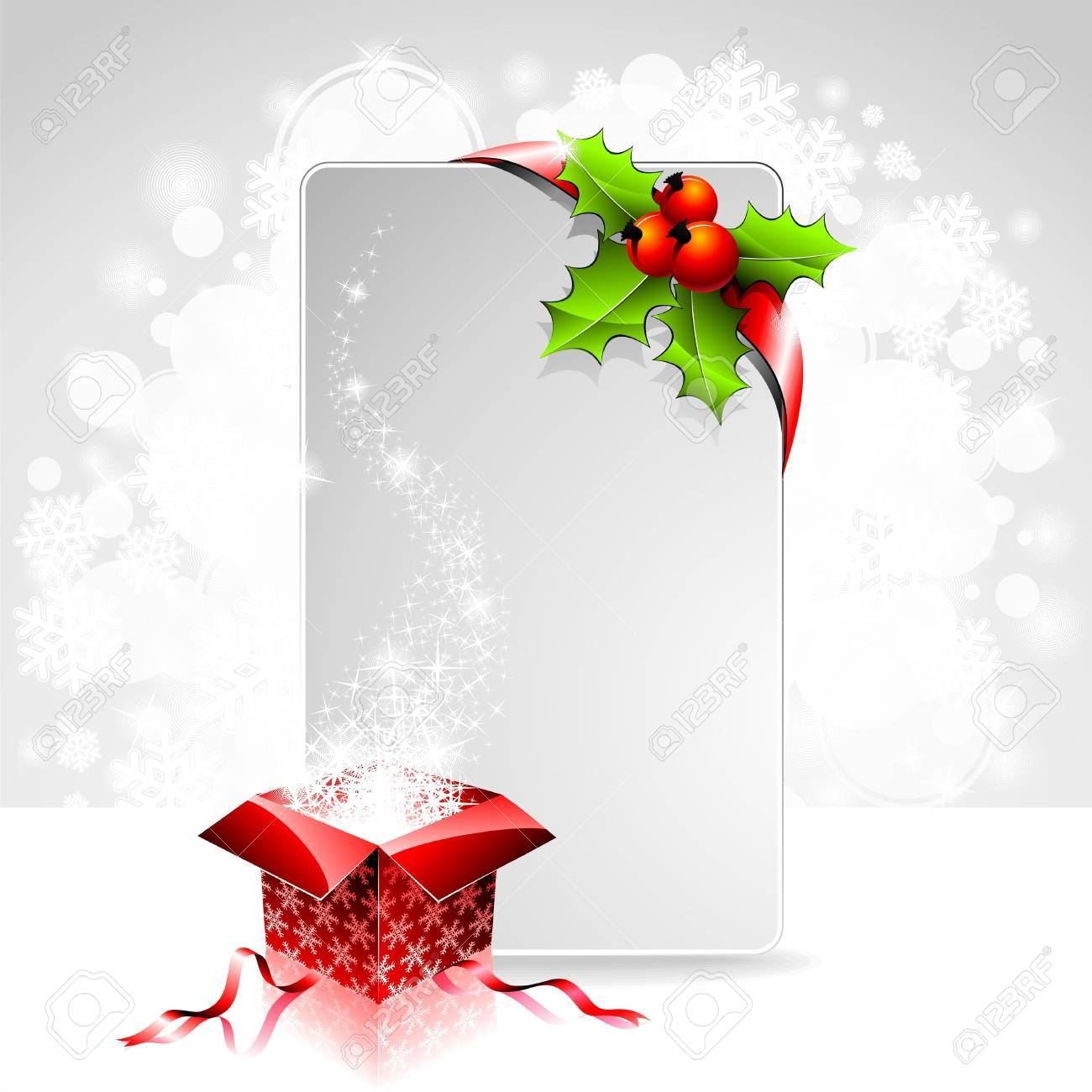 holiday illustration on a Christmas theme with gift box and clear banner for your text. Stock Vector - 11242142
