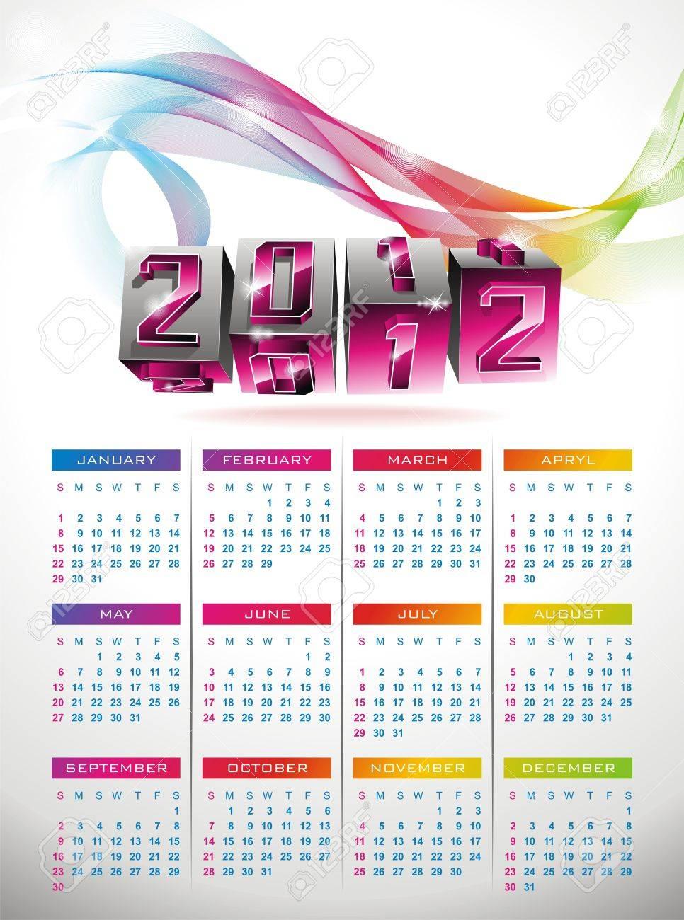 calendar design 2012 with swirl cubes design Stock Vector - 11376895