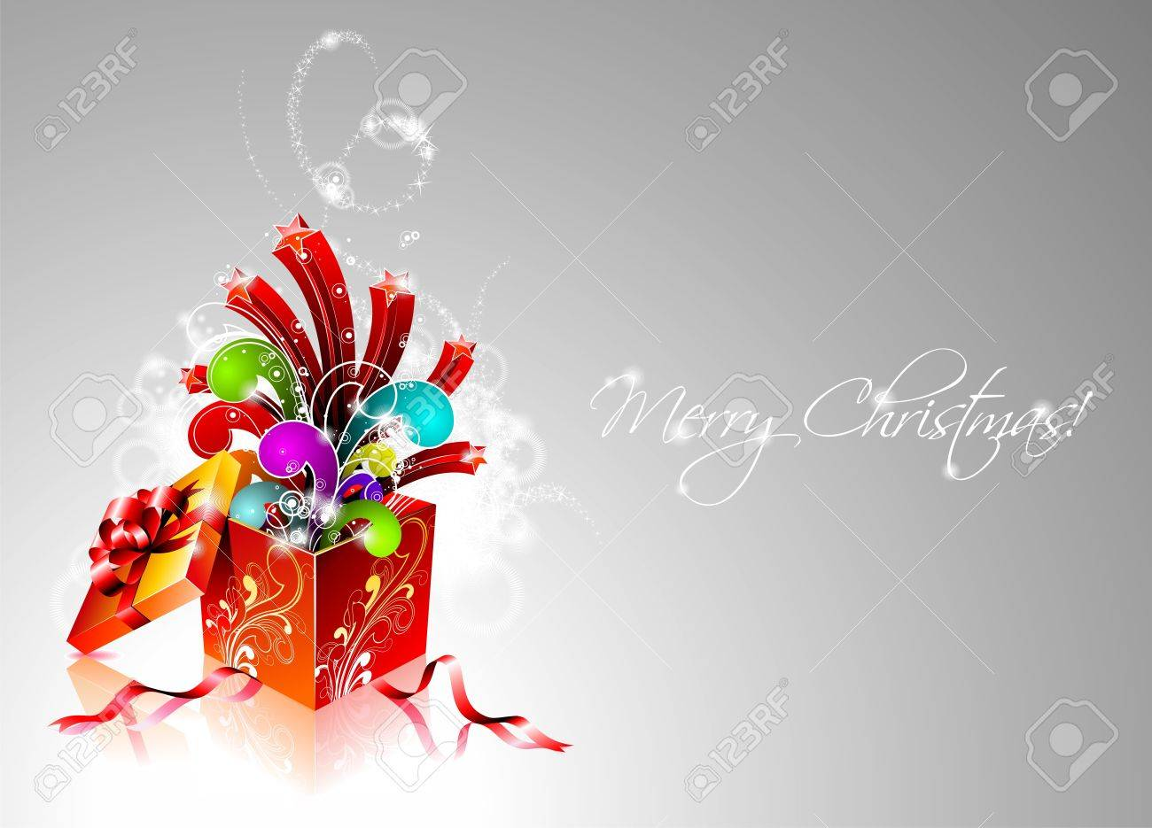 Christmas illustration with magic gift box Stock Vector - 15098161