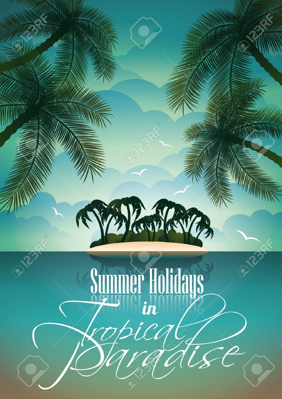 Fabuloso Vector Summer Holiday Flyer Design With Palm Trees And Paradise  PC73