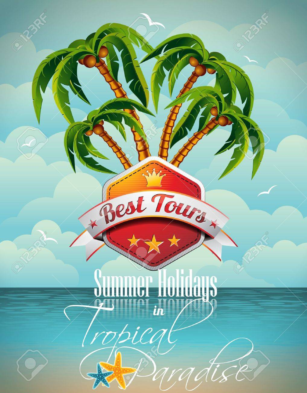 Vector Summer Holiday Flyer Design with palm trees and Best Tour Banner on sea background. Eps10 illustration. Stock Vector - 19293355