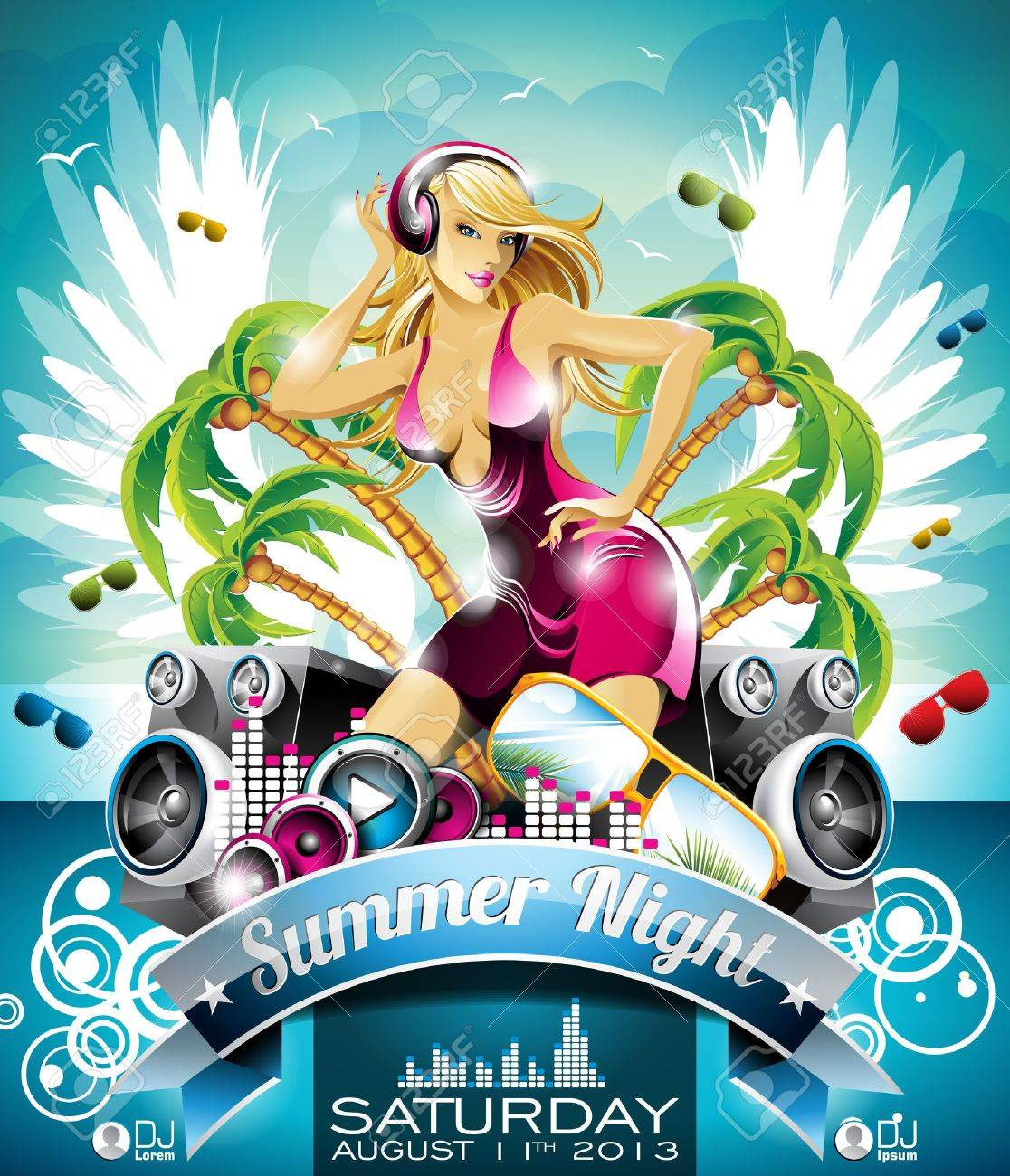 Summer Beach Party Flyer Design with sexy girl and speakers on cloud background. Stock Vector - 19927609