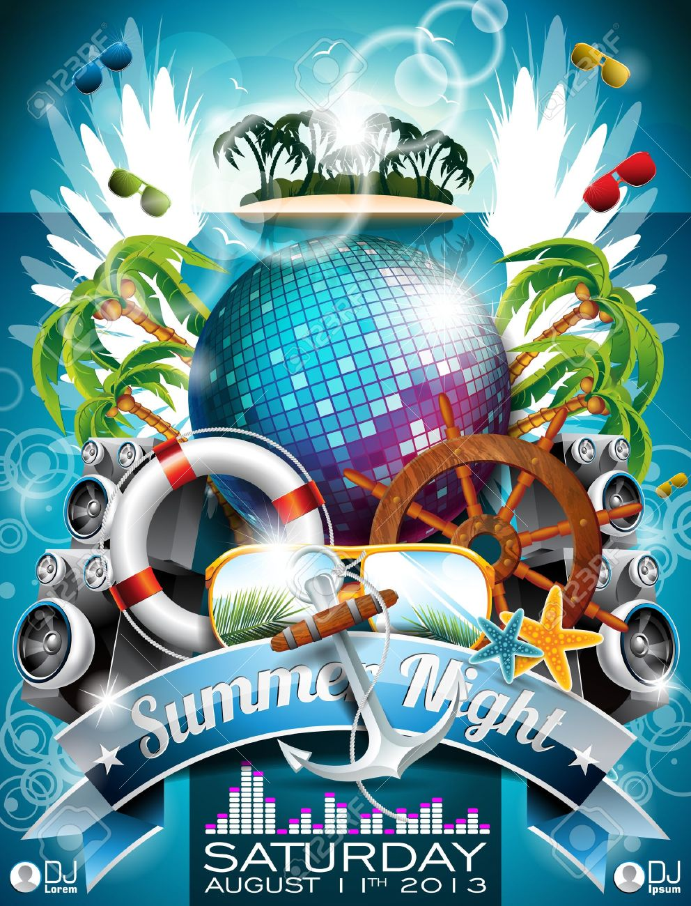 Summer Beach Party Flyer Design with disco ball and shipping elements on tropical background. Stock Vector - 20352691