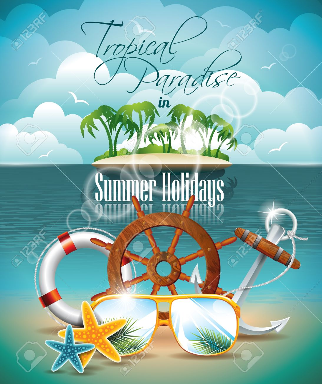 summer holiday flyer design with palm trees and shipping elements on tropical background stock vector