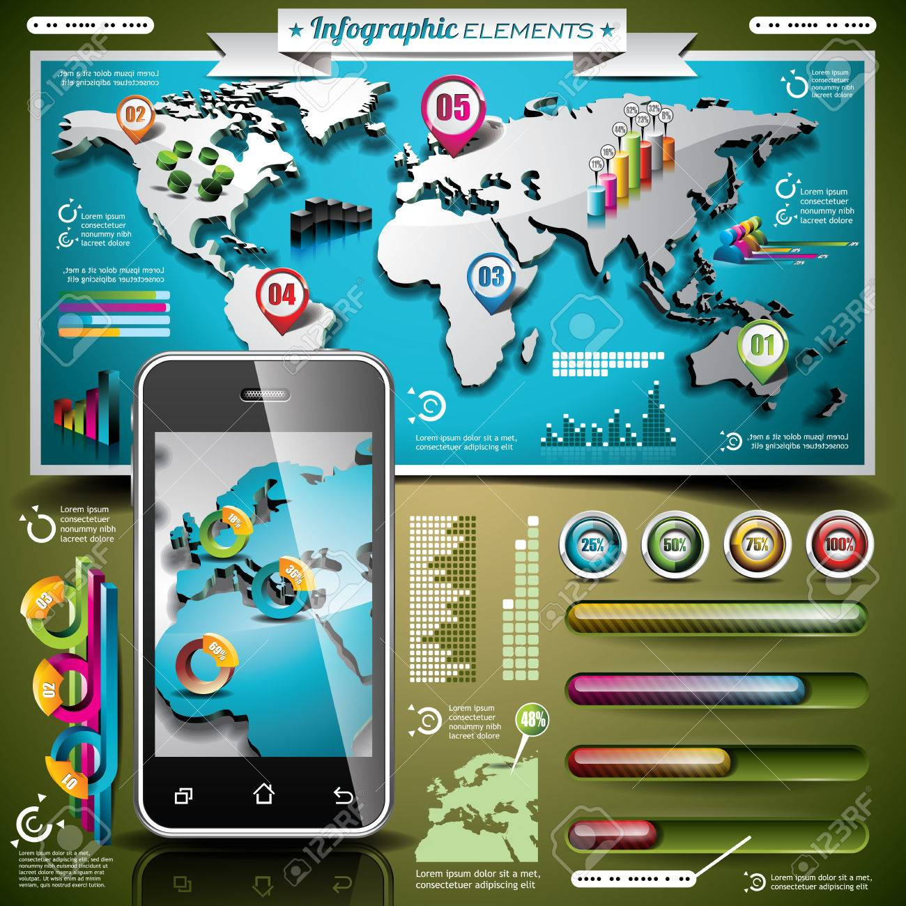 Vector design set of infographic elements world map and information vector design set of infographic elements world map and information graphics on mobile phone gumiabroncs Image collections