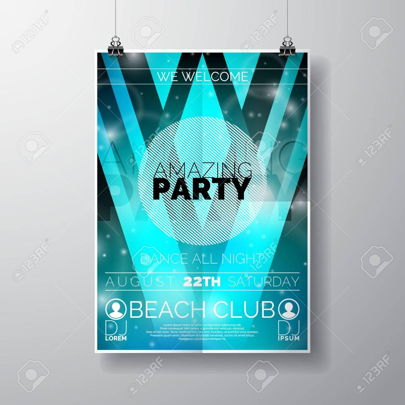 Vector Party Flyer Poster Vorlage Auf Sommer-Strand-Thema Mit ...