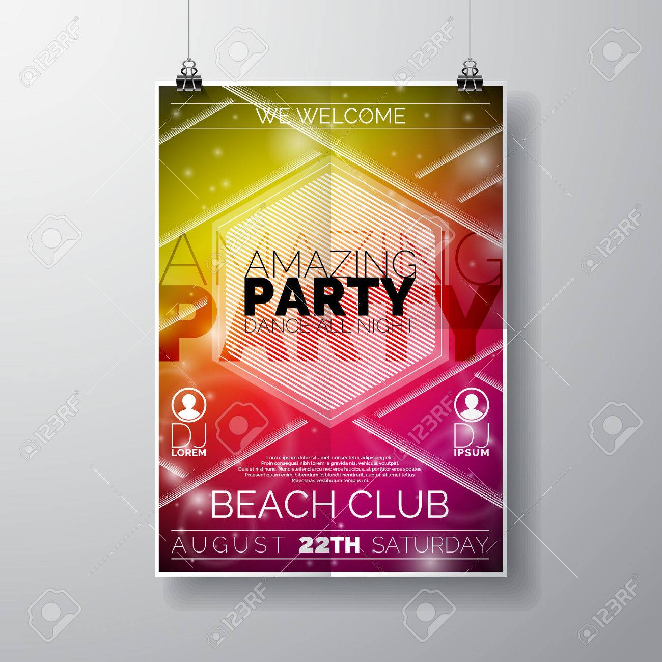 Vector Party Flyer Poster Template On Summer Beach Theme With ...