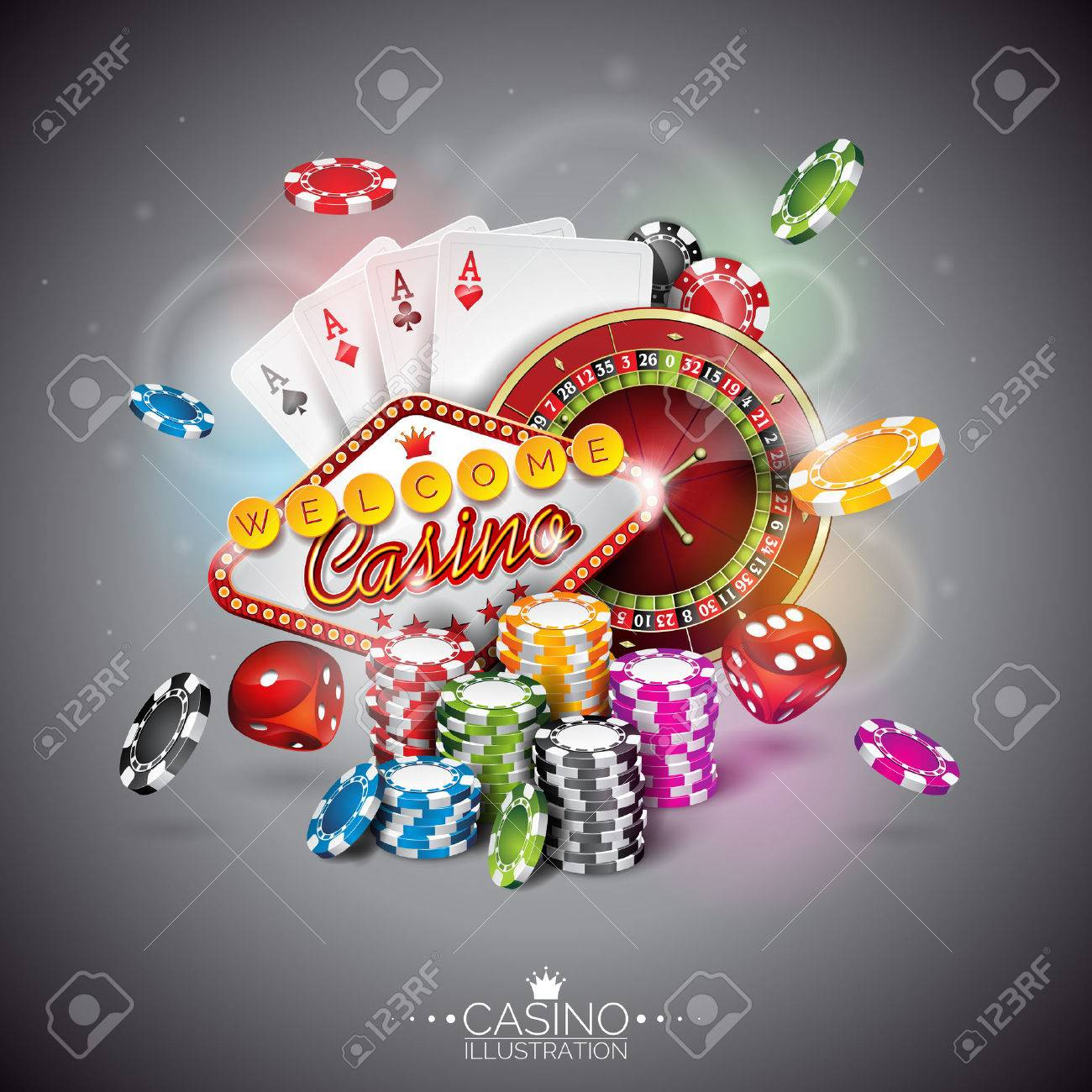 illustration on a casino theme with color playing chips and poker cards on dark background. - 52850511