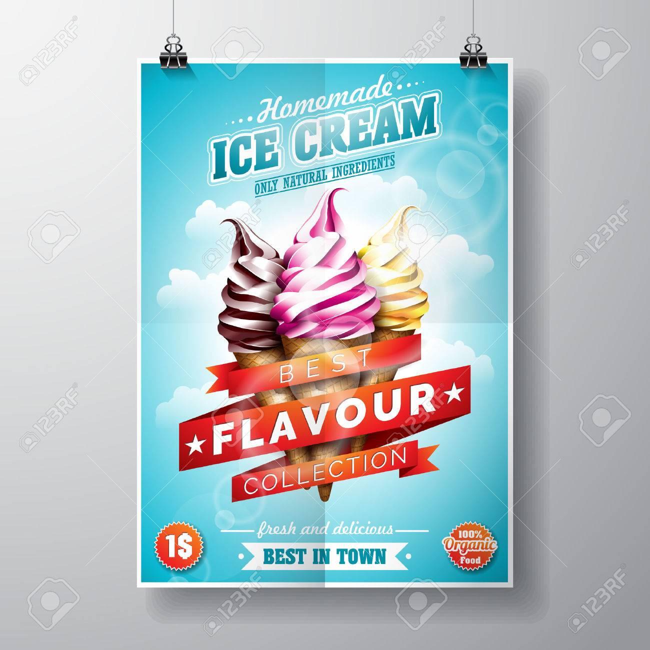 Delicious Ice Cream Design on sky background - 53834139