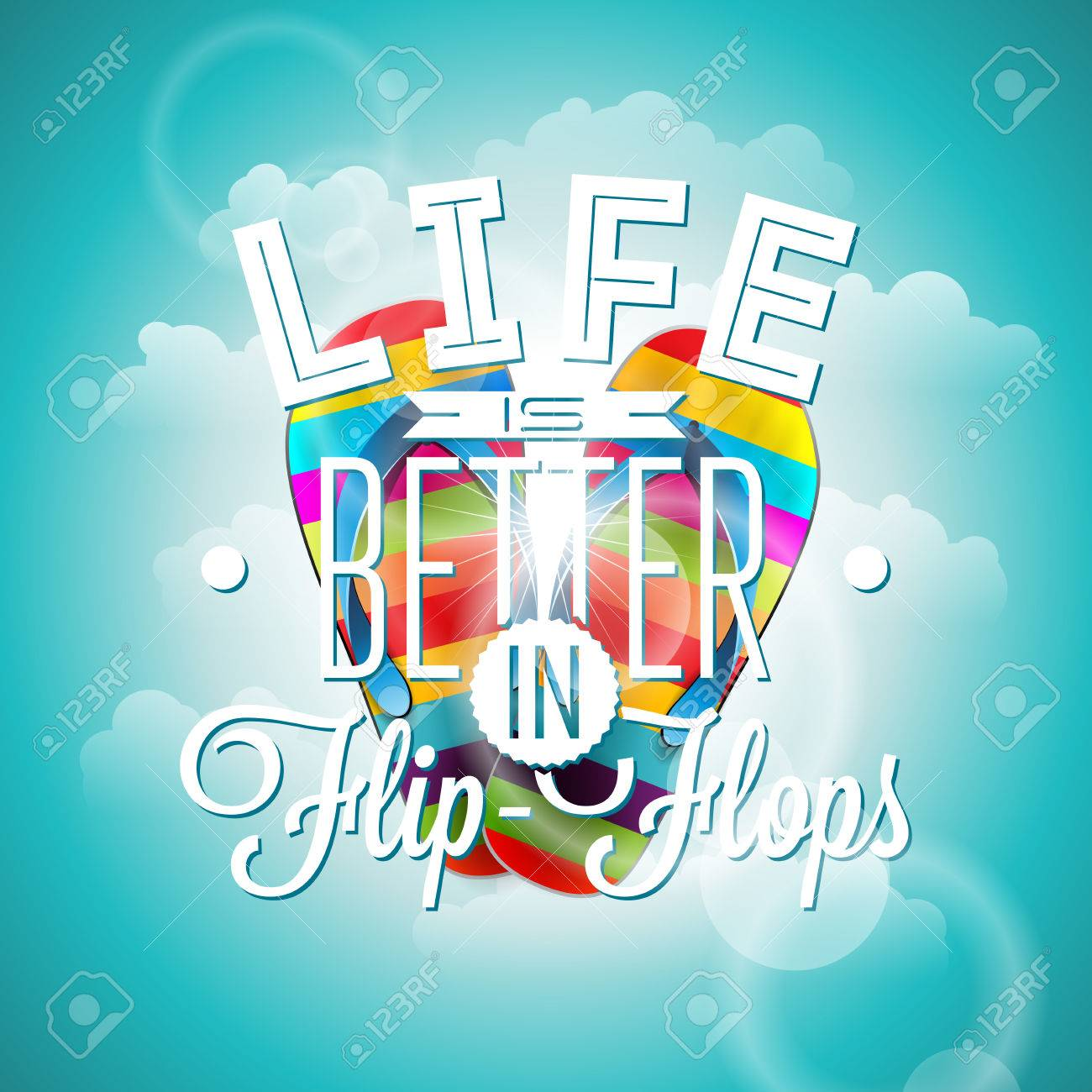 Life Is Better In Flip Flops Inspiration Quote On Blue Background