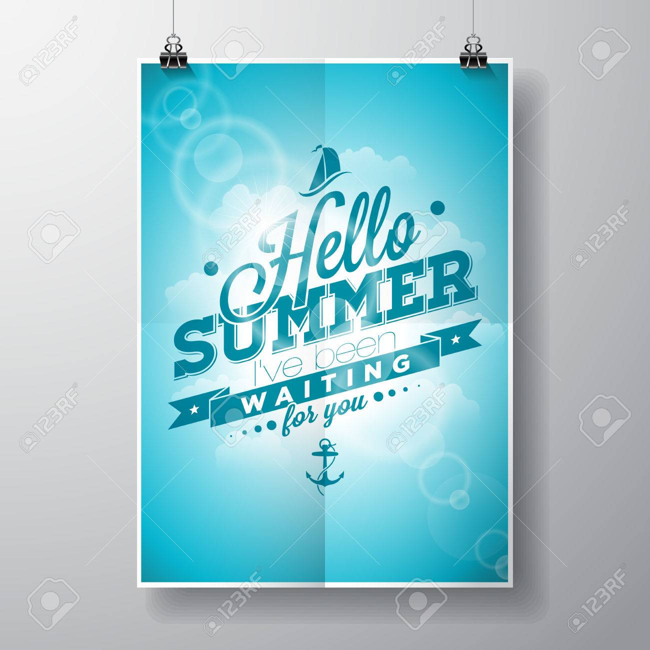 Hello Summer, Iu0027ve Been Waiting For You Inspiration Quote On Blue Sky  Background Design Inspirations