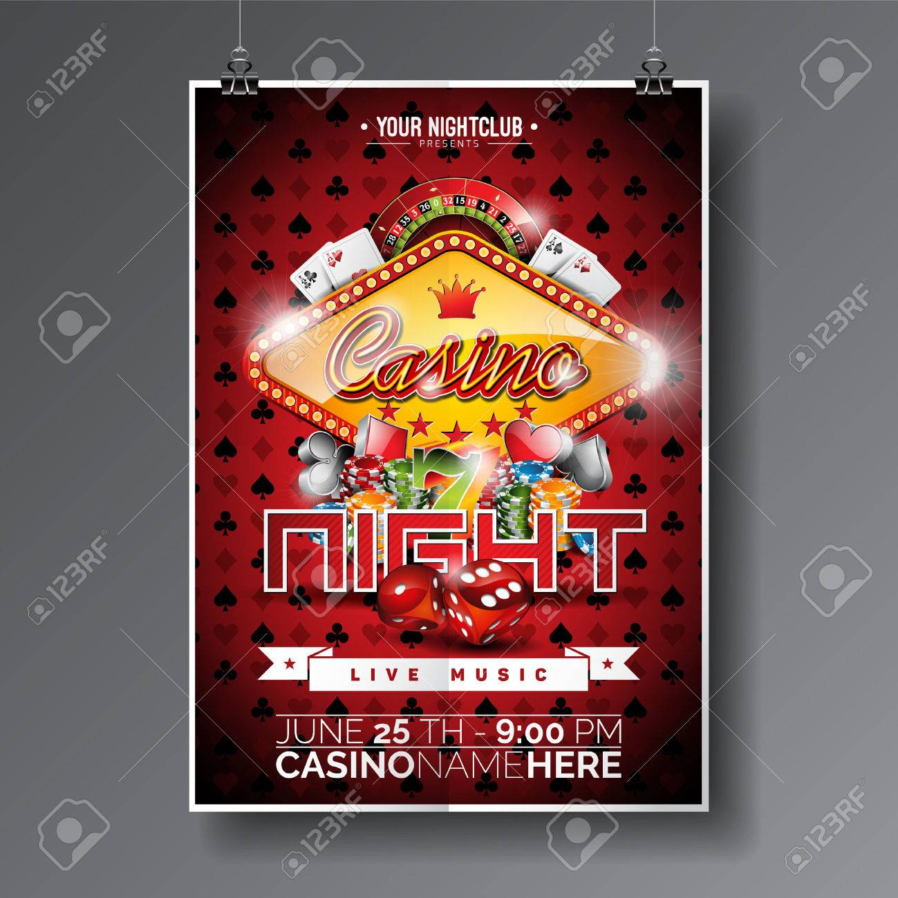 Vector Party Flyer design on a Casino theme with chips and game cards on dark symbols background. - 56737743