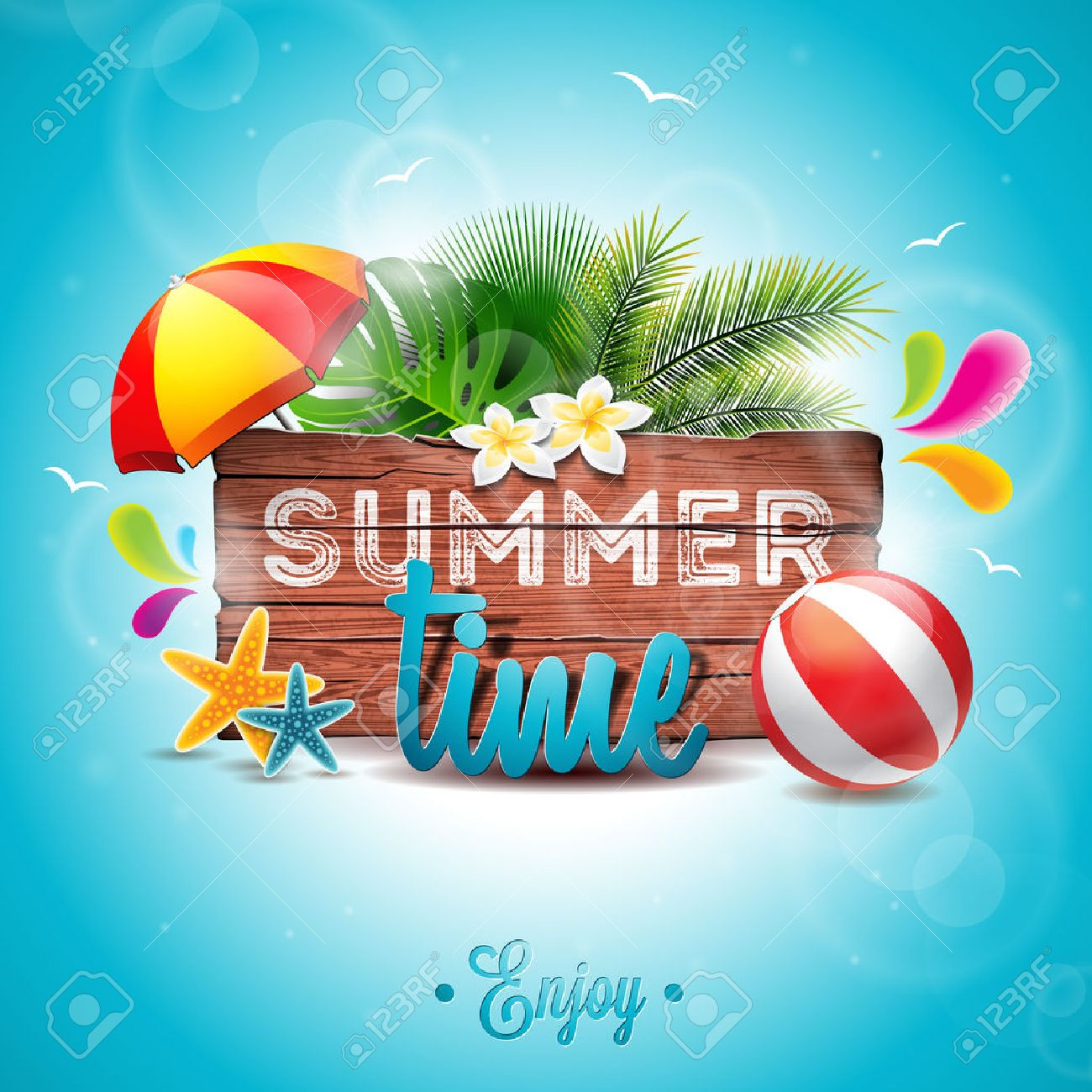 Summer Time Holiday typographic illustration on vintage wood background. Tropical plants, flower, beach ball and sunshade. - 57961511