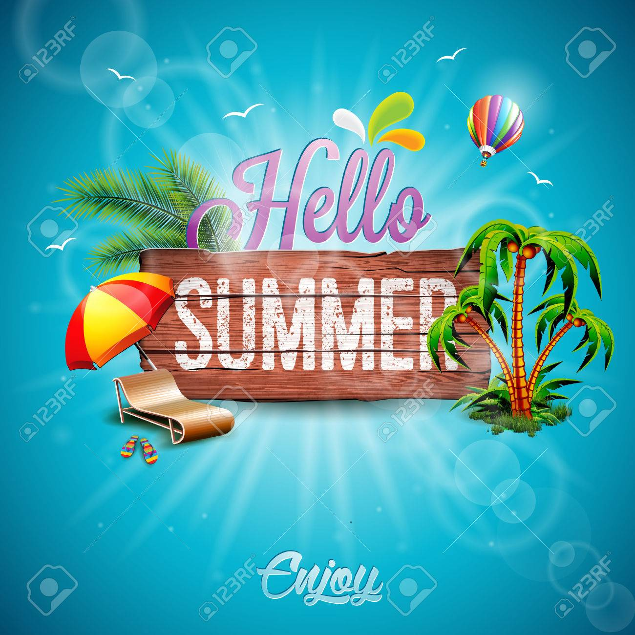 Hello Summer Holiday typographic illustration with tropical plants, flower and hot air balloon on vintage wood background. - 57961515