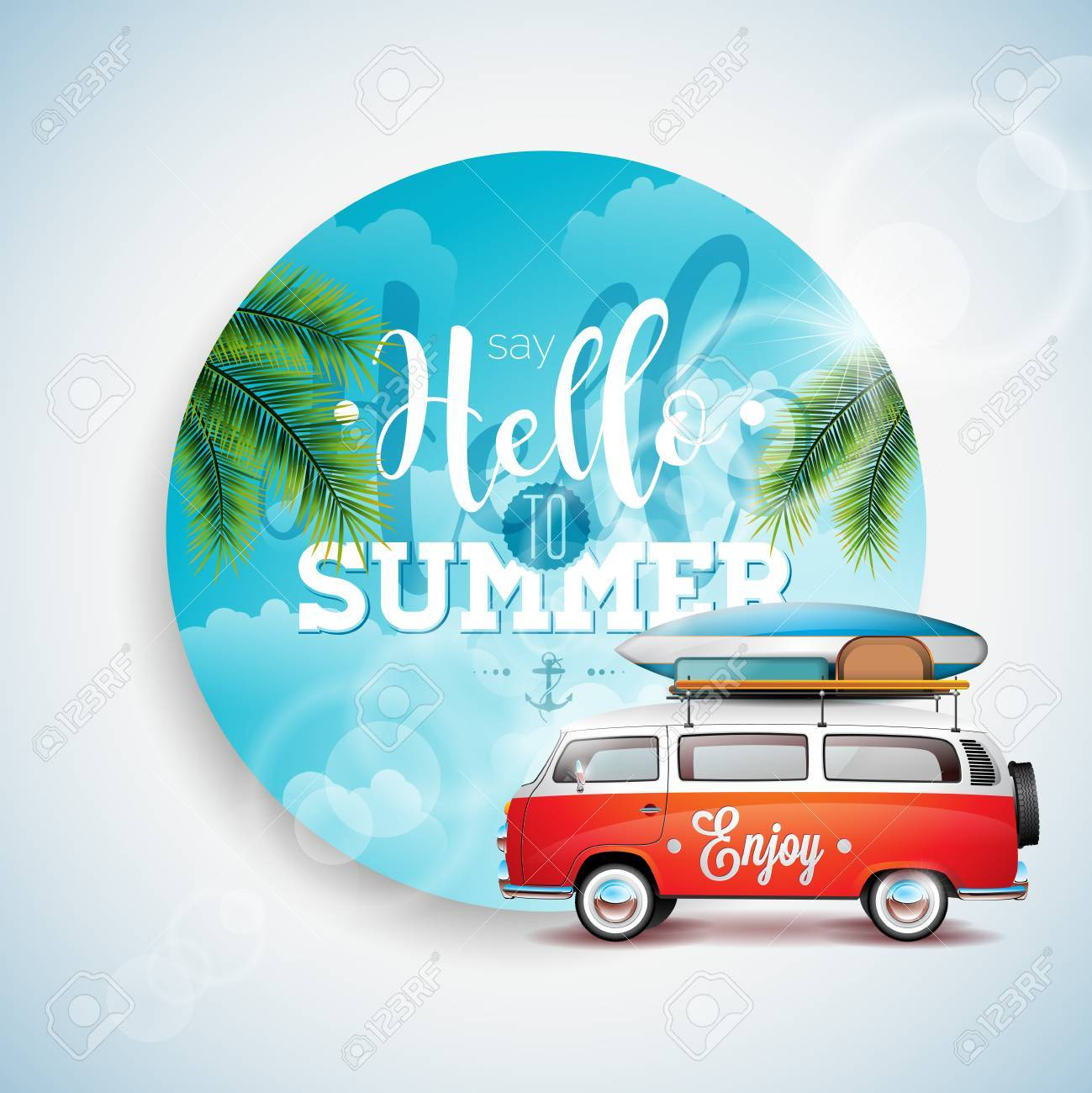 Say Hello to Summer Holiday typographic illustration on tropical plants floral background. Blue sky and travel van. - 68957945