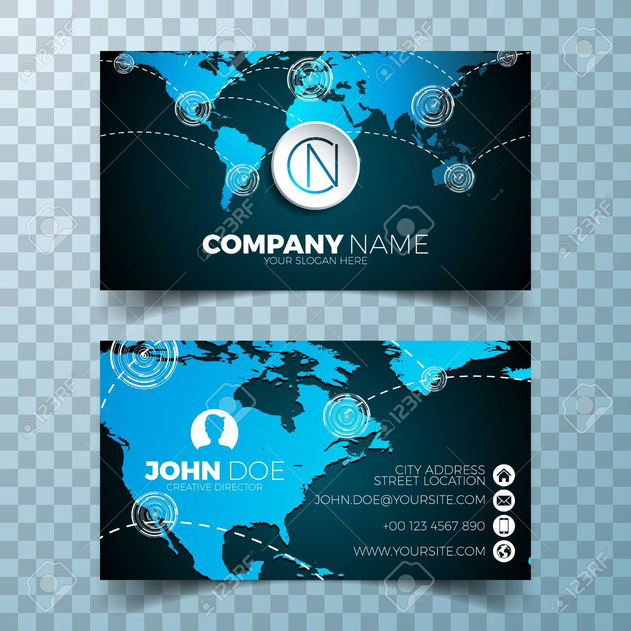 Vector Modern Business Card Design Template With World Map On ...