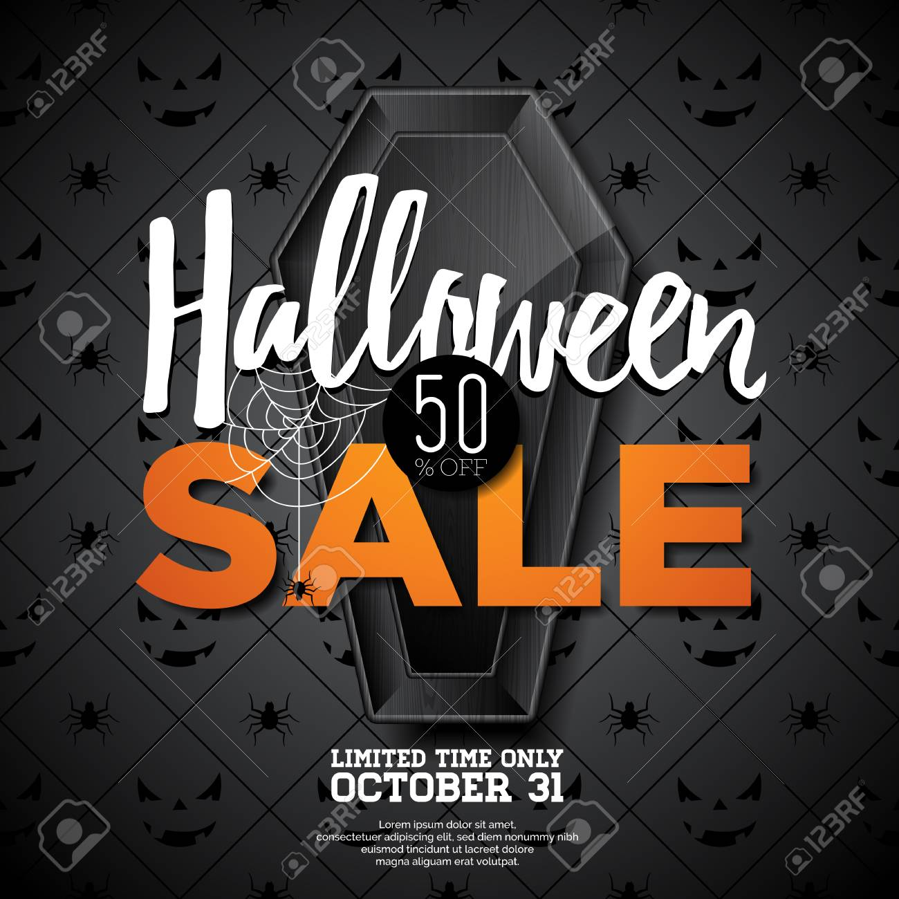 halloween sale vector illustration with coffin and holiday elements on black background design for offer
