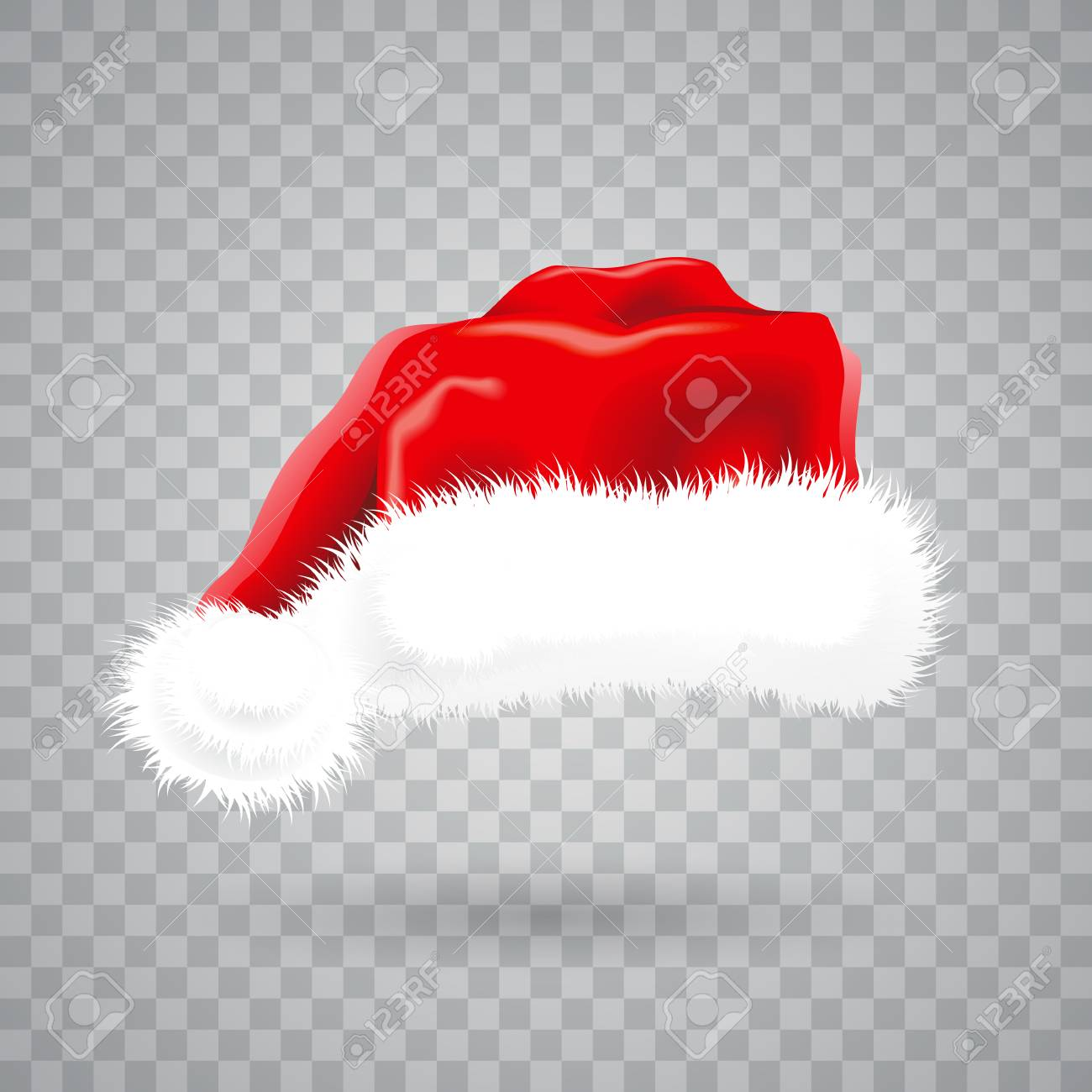 Christmas Hat Transparent.Christmas Illustration With Red Santa Hat On Transparent Background
