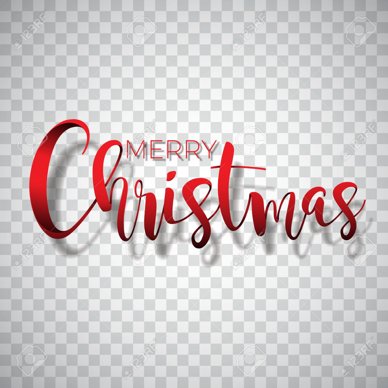 Merry Christmas No Background.Merry Christmas Typography Illustration On A Transparent Background