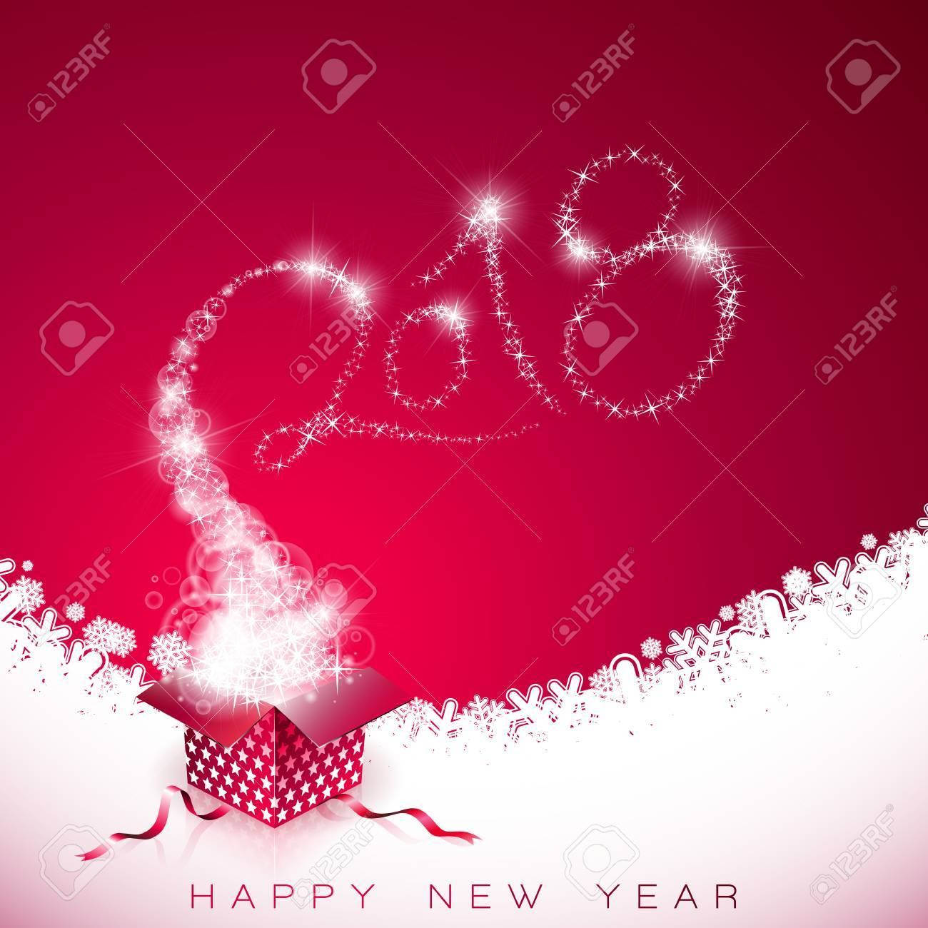 Vector Happy New Year 2018 Illustration on Red Background with Gift Box and Typography Design - 88394901