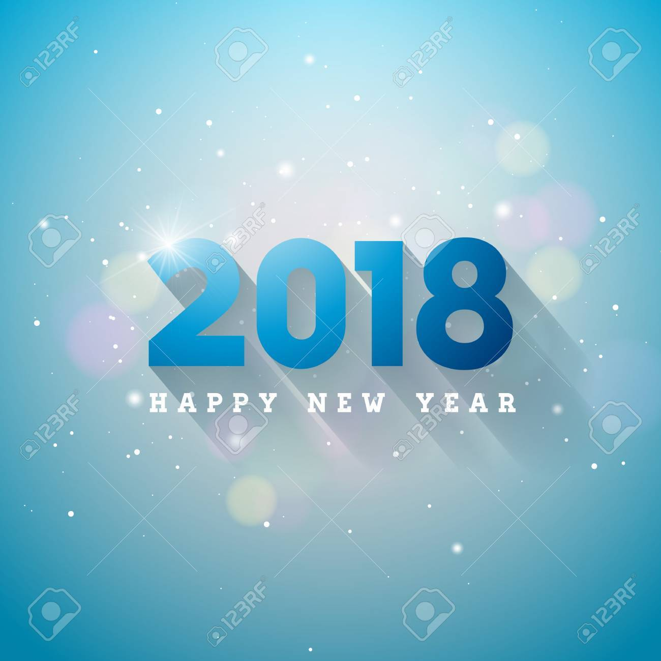 vector vector happy new year 2018 illustration on shiny lighting blue background with typography