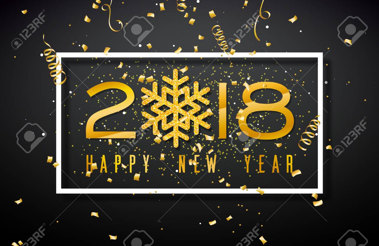 happy new year 2018 illustration with gold number and glittered snowflake on black background vector