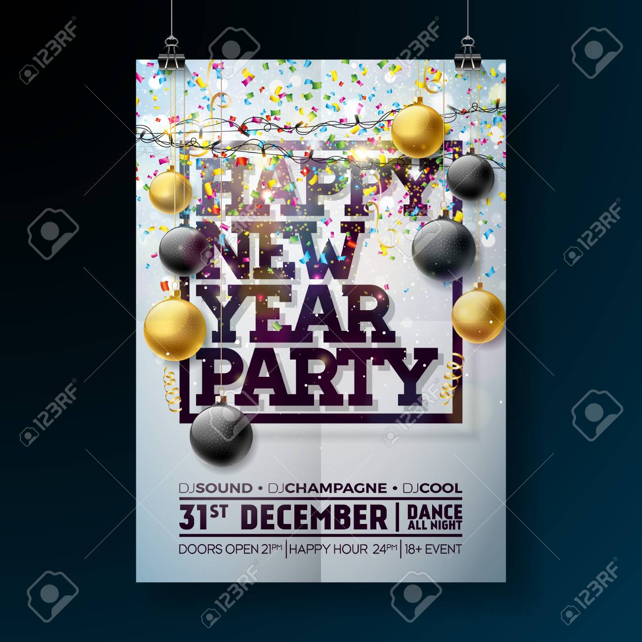 new year party celebration poster template illustration with typography design glass ball and falling confetti