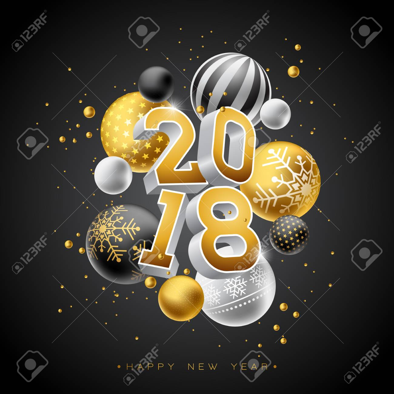 happy new year 2018 illustration with gold 3d number and ornamental ball on black background