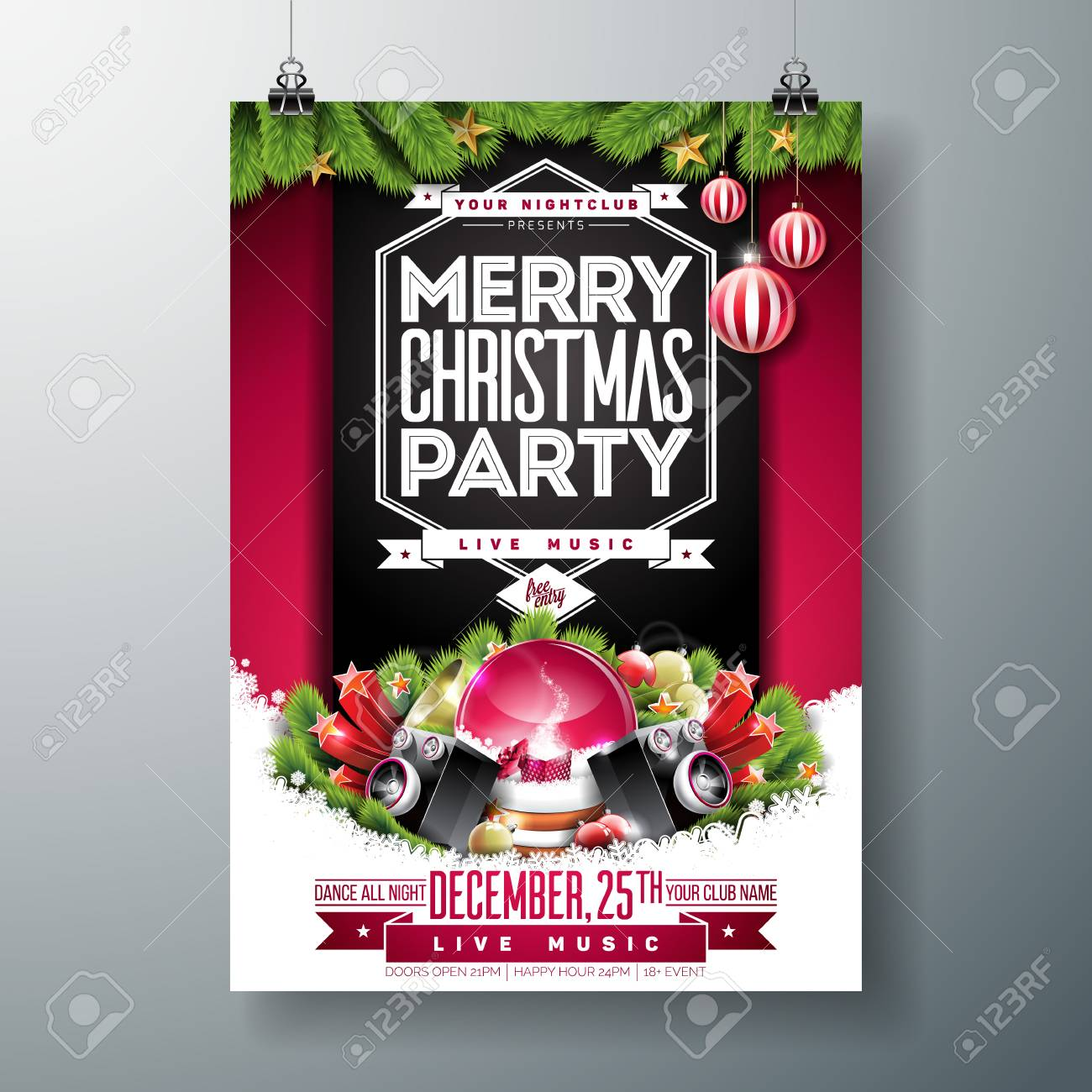 Christmas Party Flyer.Stock Illustration