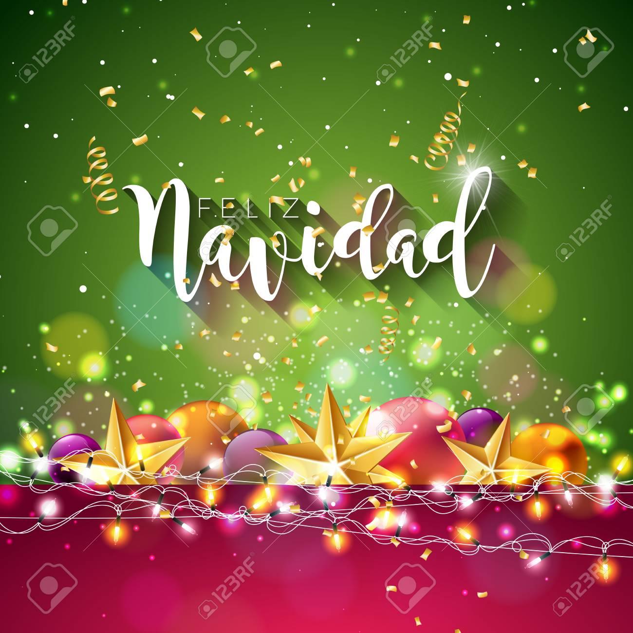 Christmas Illustration With Spanish Feliz Navidad Typography