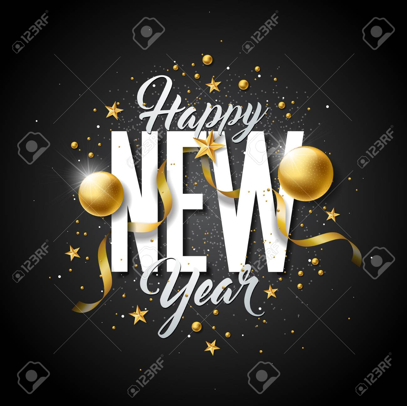 happy new year illustration with typography letter and ornamental ball on black background vector holiday