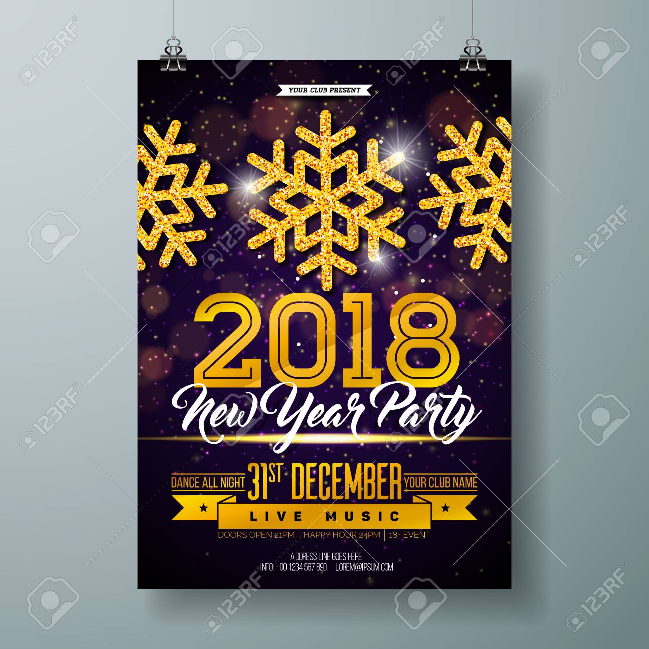 2018 new year party celebration poster template illustration with gold glittered snowflake on shiny background